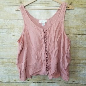 Women's Forever 21 Plus Pink Rose Flowy Tank Top